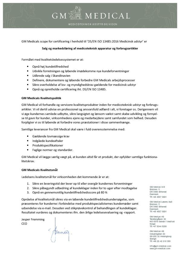 GM Medical ISO-certificering Scope